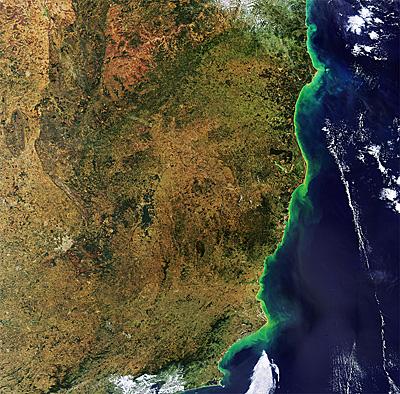 La côte brésilienne vue par satellite (image ESA)