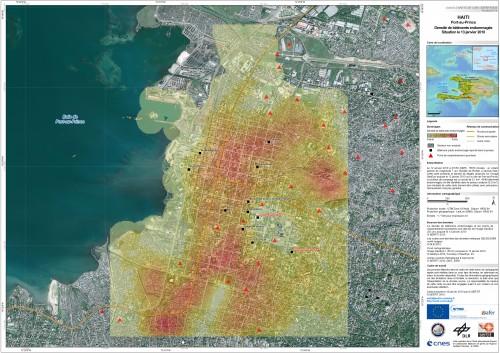 Evaluation de la densité des dégâts à Port-au-Prince, Haïti, après le séisme. Image Sertit, 13 janvier 2010.