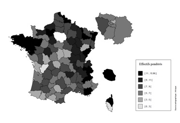 Prévalence de la mucoviscidose en 2008 par département (patients pour 100 000 habitants). Source :  Bellis G., et al. (2011). Registre français de la mucoviscidose 2008, Paris, Vaincre la Mucoviscidose et Ined.